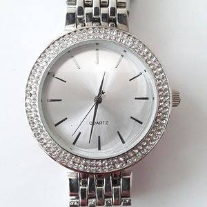 Stainless steel silver and diamond watch